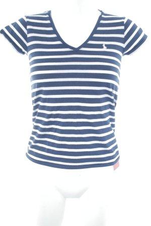 Ralph Lauren T-Shirt dunkelblau-weiß Streifenmuster Casual-Look