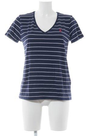 Ralph Lauren T-Shirt dunkelblau-weiß Streifenmuster sportlicher Stil