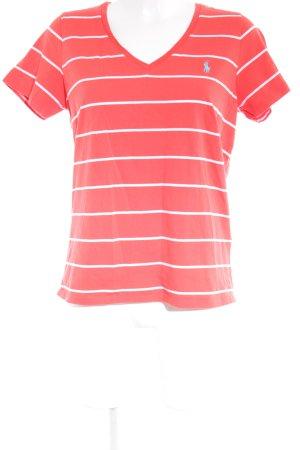 Ralph Lauren T-Shirt hellrot-weiß Streifenmuster Casual-Look