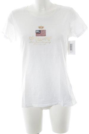 Ralph Lauren T-Shirt weiß-goldfarben Schriftzug gedruckt Casual-Look