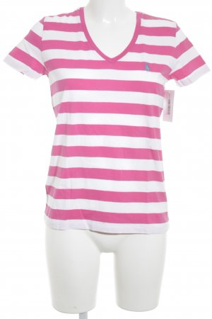 Ralph Lauren T-Shirt weiß-magenta Streifenmuster Casual-Look
