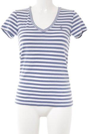 Ralph Lauren T-Shirt wollweiß-kornblumenblau Streifenmuster sportlicher Stil