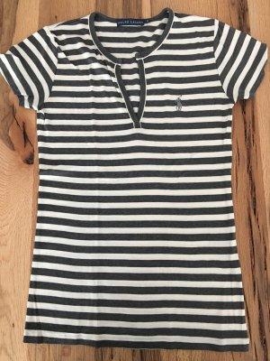 Ralph Lauren Tshirt V-Ausschnitt gestreift Grau Weiß M