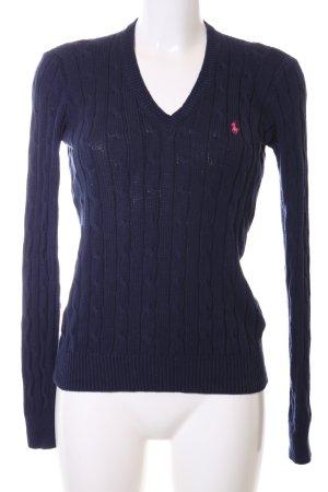 Ralph Lauren V-Ausschnitt-Pullover blau Zopfmuster Casual-Look