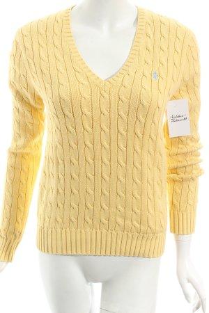 Ralph Lauren V-Ausschnitt-Pullover blassgelb Zopfmuster klassischer Stil
