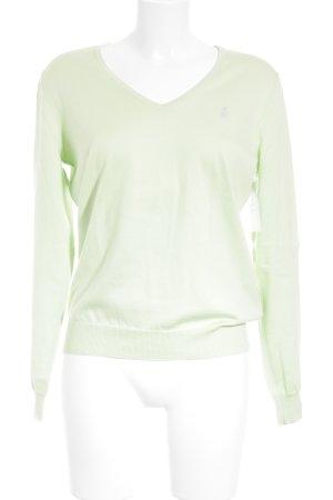 Ralph Lauren V-Ausschnitt-Pullover blassgrün Logostickerei