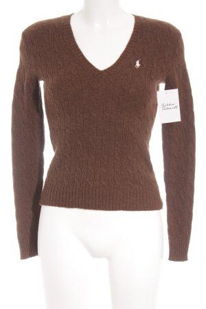 Ralph Lauren V-Ausschnitt-Pullover braun College-Look