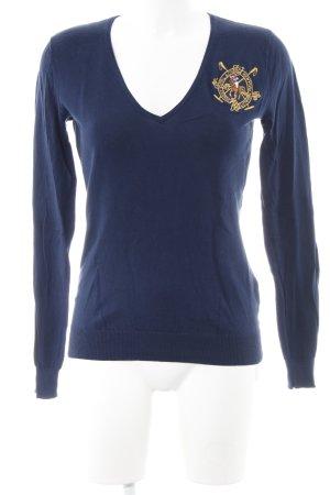 Ralph Lauren V-Ausschnitt-Pullover dunkelblau klassischer Stil