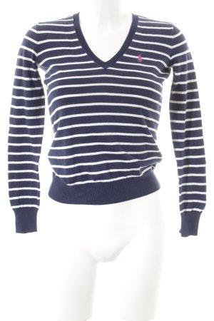 Ralph Lauren V-Ausschnitt-Pullover dunkelblau-weiß Streifenmuster