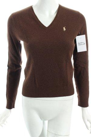 Ralph Lauren V-Ausschnitt-Pullover dunkelbraun klassischer Stil