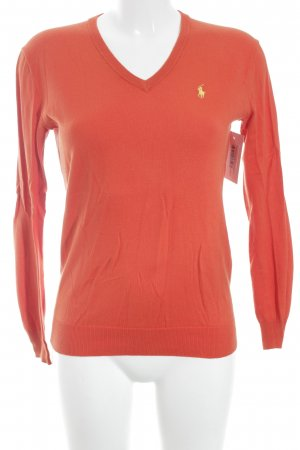 Ralph Lauren V-Ausschnitt-Pullover dunkelorange-gelb Casual-Look