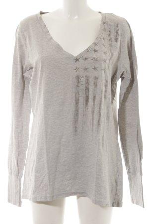Ralph Lauren V-Ausschnitt-Pullover hellgrau-silberfarben meliert Casual-Look