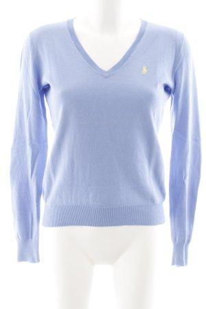 Ralph Lauren Jersey con cuello de pico azul celeste-amarillo pálido look casual