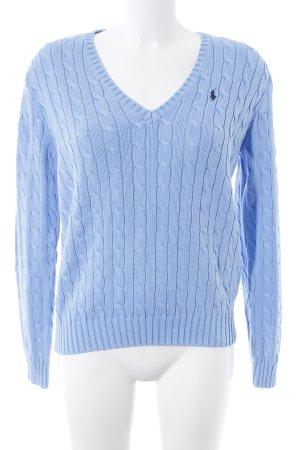 Ralph Lauren V-Ausschnitt-Pullover himmelblau Zopfmuster College-Look