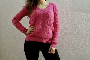 Ralph Lauren V-Ausschnitt Pullover in Hot-Pink mit blauem Logo