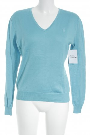 Ralph Lauren V-Ausschnitt-Pullover kornblumenblau-hellblau Kuschel-Optik
