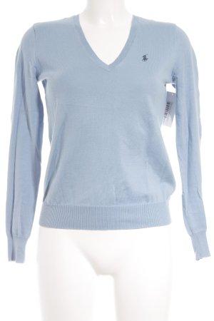 Ralph Lauren V-Ausschnitt-Pullover kornblumenblau Logostickerei