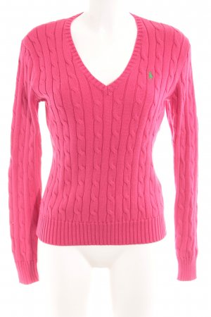 Ralph Lauren V-Neck Sweater magenta-green cable stitch casual look