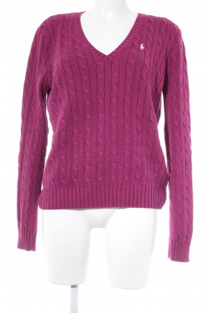 Ralph Lauren V-Neck Sweater magenta-white cable stitch casual look