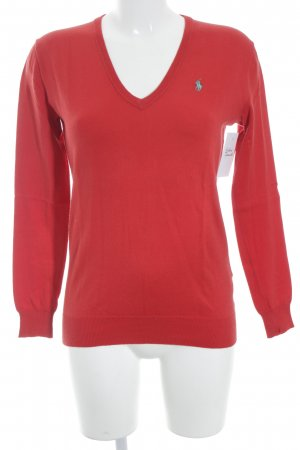 Ralph Lauren V-Ausschnitt-Pullover rot-türkis klassischer Stil