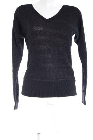Ralph Lauren V-Ausschnitt-Pullover schwarz Streifenmuster Casual-Look