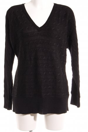 Ralph Lauren V-Neck Sweater black cable stitch casual look