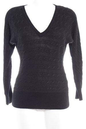 Ralph Lauren V-Ausschnitt-Pullover schwarz Zopfmuster Casual-Look
