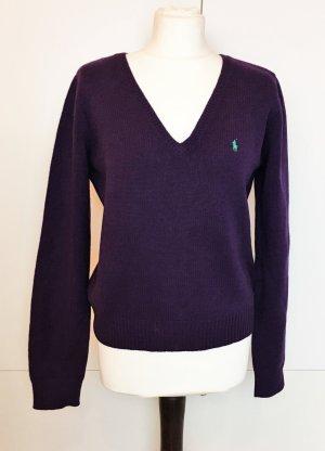 * RALPH LAUREN * V-Ausschnitt Pullover Wolle Kaschmir lila Gr XL ( 40 42 )