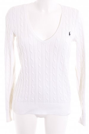 Ralph Lauren V-Neck Sweater natural white cable stitch casual look