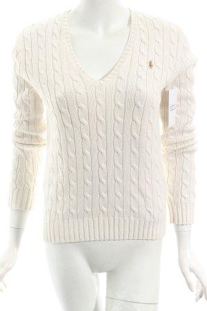 Ralph Lauren V-Ausschnitt-Pullover wollweiß Zopfmuster klassischer Stil