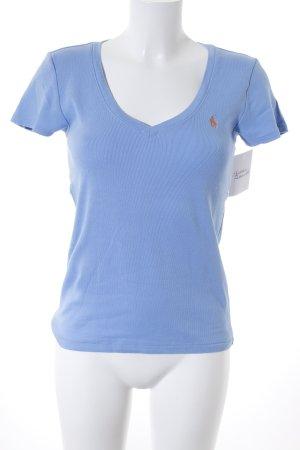 Ralph Lauren V-Ausschnitt-Shirt hellblau-hellorange Casual-Look