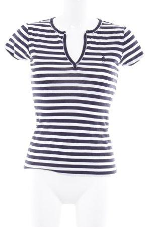Ralph Lauren V-Ausschnitt-Shirt weiß-dunkelblau Streifenmuster Casual-Look