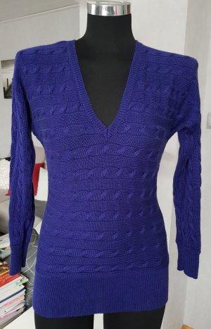 Ralph Lauren V-Pullover XS Zopfmuster Neuwertig Lila-blau