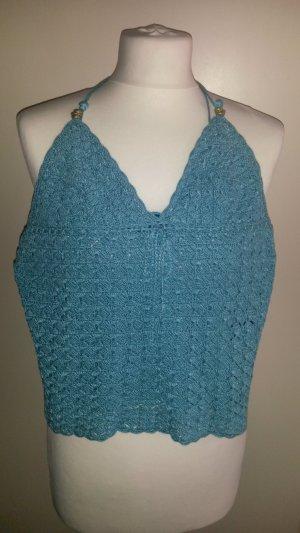 Lauren by Ralph Lauren Crochet Top light blue real silver