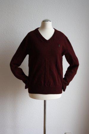 Ralph Lauren Vintage Sweater Pullover V-Ausschnitt Weinrot Lila Burgundy