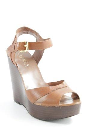 Ralph Lauren Wedge Sandals cognac-coloured-dark brown wooden look