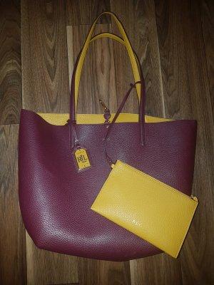 Lauren by Ralph Lauren Turn Bag bordeaux-dark yellow polyurethane