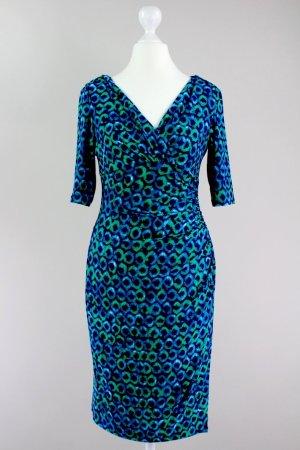 Ralph Lauren Wickelkleid mit Raffungen, gemustert blau Größe 36 1708460161247