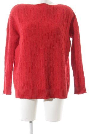 Ralph Lauren Maglione di lana rosso punto treccia