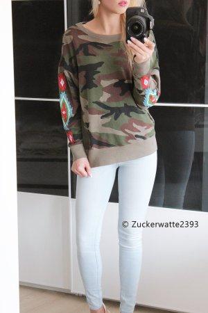 Ralph Lauren XS/S Camouflage Pullover Boyfriend Style mit Stickerei