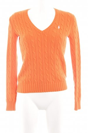 Ralph Lauren Cable Sweater light orange-gold-colored cable stitch casual look