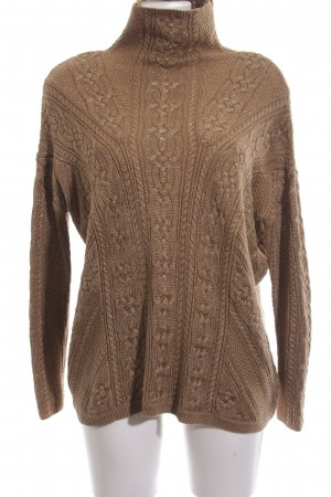 Ralph Lauren Cable Sweater brown cable stitch casual look