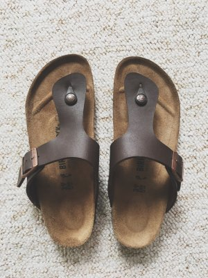 Birkenstock Sandalo toe-post marrone scuro