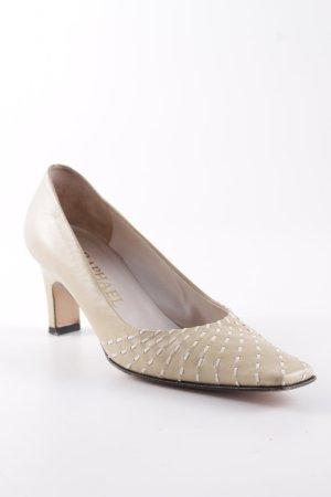 Raphael Cologne Zapatos de tacón con barra en T marrón arena estampado a rayas