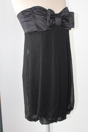 Rare Chiffon Minileid Chiffonkleid Bandeaukleid Gr. S M 38  schwarz neuwertig