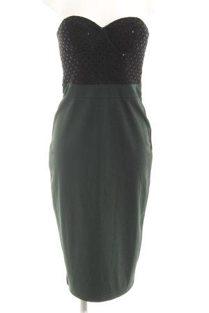 Rare london Abendkleid schwarz-waldgrün Glitzer-Optik