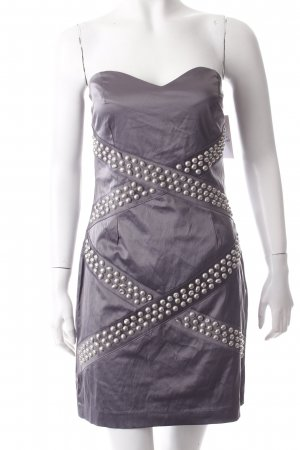 Rare london Vestido bandeau gris Remaches