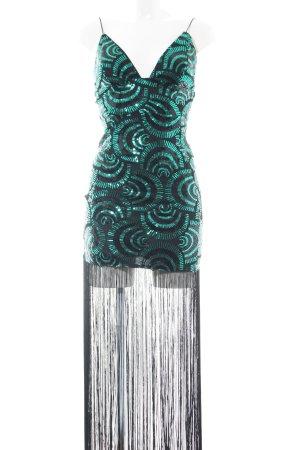 Rare london Pailettenkleid schwarz-türkis abstraktes Muster extravaganter Stil