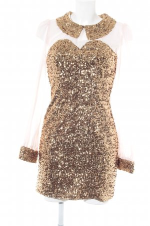 Rare london Vestido de lentejuelas color bronce-rosa claro estilo fiesta