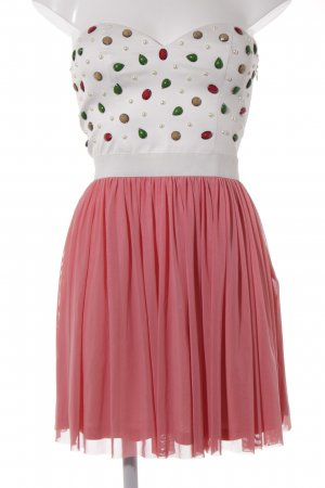Rare london Off the shoulder jurk wit-roze feest stijl